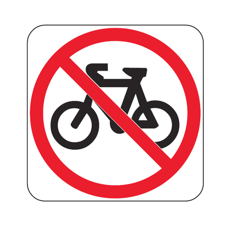 BICYCLES PROHIBITED (symbolic) R6-10-3 Road Sign