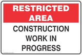 Restricted Area Construction work in progress Safety Signs and Stickers