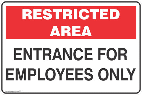 Restricted Area Entrance for Employees Only  Safety Signs and Stickers