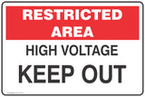Restricted Area High Voltage Keep Out  Safety Signs and Stickers