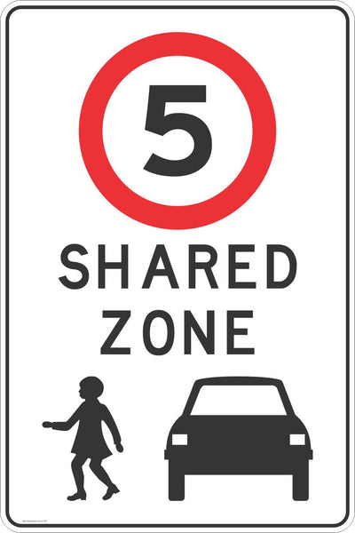 Shared Zone 5 Kph Speed Safety Signs Stickers Road