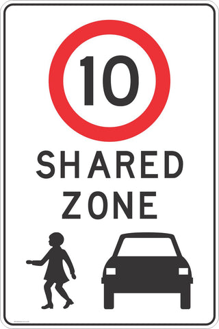 Shared Zone 10 KPH Road Traffic Sign