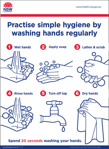 Practise simple hygiene by washing hands regularly Signs and Stickers