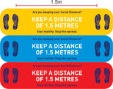 Keep a distance of 1.5 meters - stop the spread floor graphic
