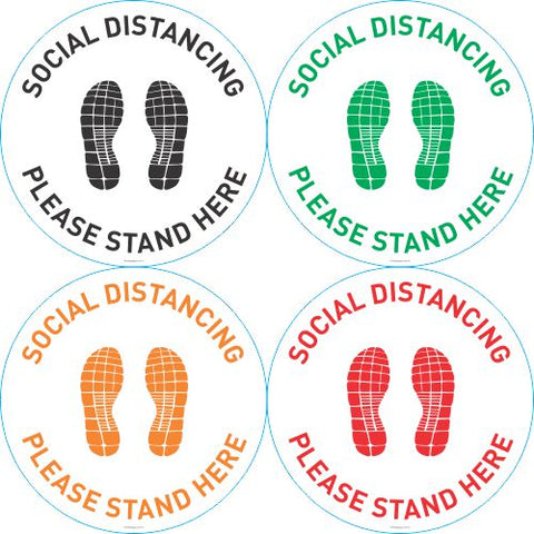 Social distancing please stand here anti-slip floor graphics - 400mm diameter