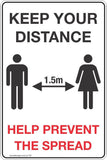 Keep your distance help prevent the spread Safety Signs and Stickers