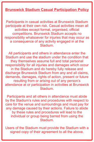 Brunswick Stadium Casual Participation Policy