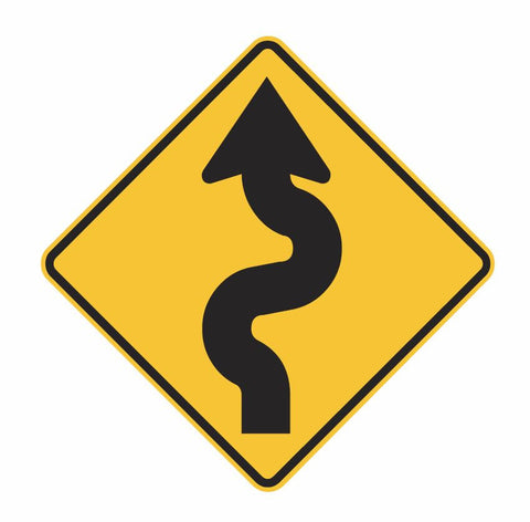 WINDING ROAD (symbolic) W1-5 Road Sign