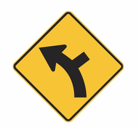 CURVED ROAD SIDE ROAD JUNCTION (symbolic L & R) W2-9 Road Sign