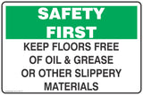 Keep Floor Free of Oil & Grease Or other Slippery Materials Safety Signs and Stickers