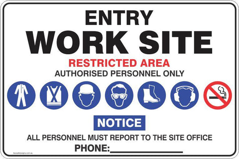 Entry Work Site Mandatory Safety Signs and Stickers