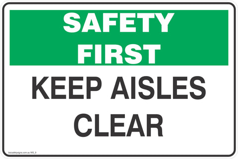 Keep Ailes Clear Safety Signs and Stickers