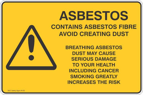 Warning Contains Asbestos Fibre Safety Signs and Stickers