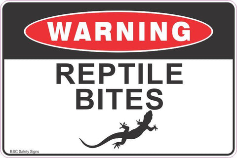 Warning Reptile Bites Lizard Safety Signs and Stickers