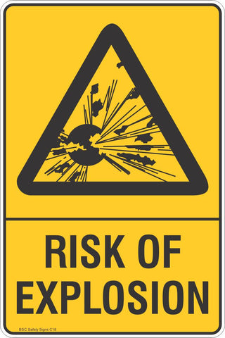 Risk Of Explosion Safety Sign