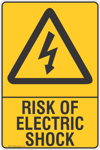 Risk Of Electric Shock Safety Sign