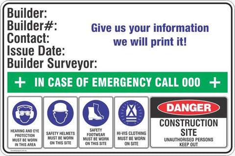 Owner Builder Safety Signs & Stickers - Construction Site Safety Signs Safety Signs and Stickers