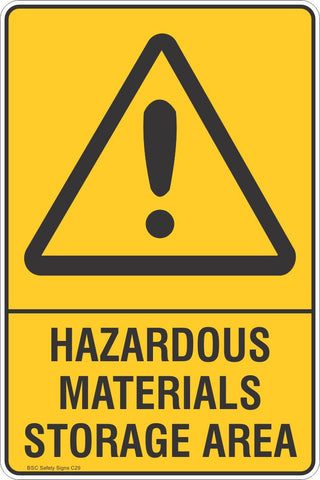Hazardous Material Storage Area Safety Sign