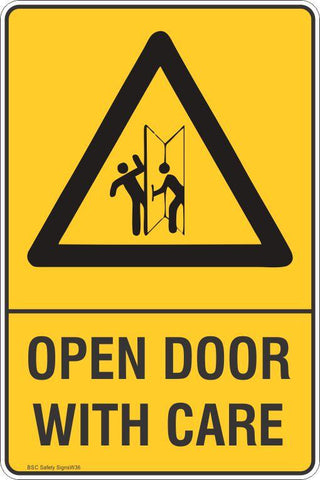 Warning Open Door With Care Safety Signs and Stickers Safety Signs and Stickers