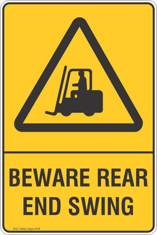Warning Beware Rear End Swing Safety Signs and Stickers Safety Signs and Stickers