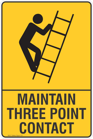 Maintain Three Point Contact Safety Sign