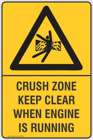 Warning Crush Zone Keep clear When Engine Is Running Safety Signs and Stickers Safety Signs and Stickers