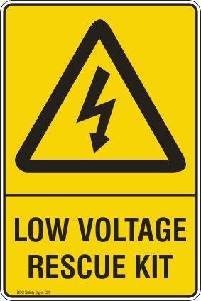 Warning Low Voltage Rescue Kit Safety Signs and Stickers