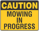 Caution Mowing In Progress - Double Sided Signs 500 x 400 Safety Signs and Stickers
