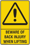 BEWARE OF BACK INJURY WHEN LIFTING Safety Signs and Stickers