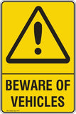 BEWARE OF VEHICLES Safety Signs and Stickers