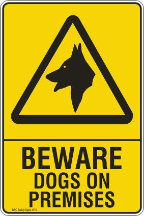 Beware Dogs on Premises Safety Signs and Stickers