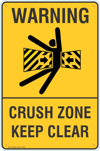 Warning Crust Zone Keep Clear Safety Signs and Stickers