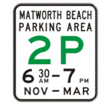 Area (name) PARKING AREA _P (specified times) - Minor entry (Example Only) R5-61-5 Road Sign