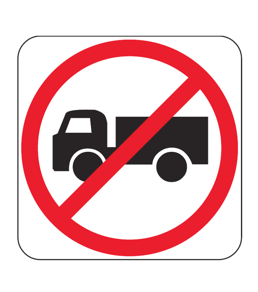 Trucks Prohibited Symbolic R6 10 2 Road Sign Bsc Safety Signs Australia