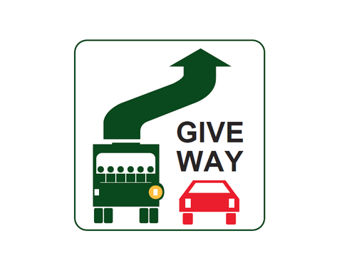 GIVE WAY to buses (Vehicle mounted sign) 350 x 350 R6-31 Road Sign