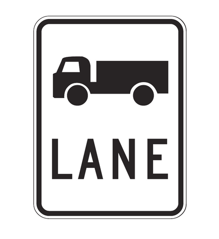 TRUCK (symbol) LANE R7-1-3 Road Sign