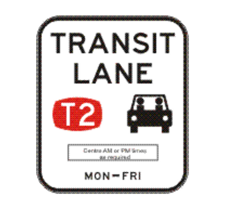 TRANSIT LANE (T2) (Single Period - times as required) 1200 x 1400 R7-7-3 Road Sign