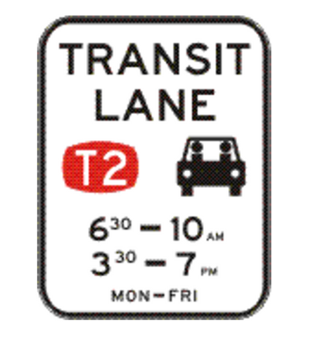 TRANSIT LANE (T2) (Two Periods - times as required) 1200 x 1560 R7-7-4 Road Sign