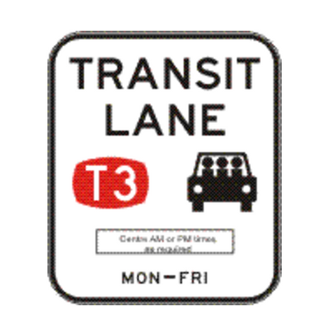 TRANSIT LANE (T3) (Single Period - times as required) 1200 x 1400 R7-7-5 Road Sign