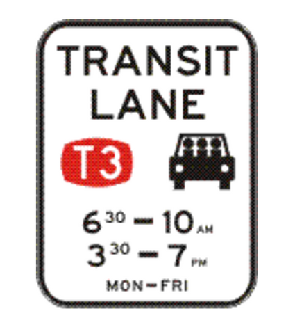 TRANSIT LANE (T3) (Two Periods - times as required) 1200 x 1560 R7-7-6 Road Sign
