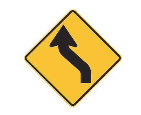 REVERSE CURVE (symbolic - L & R) W1-4 Road Sign