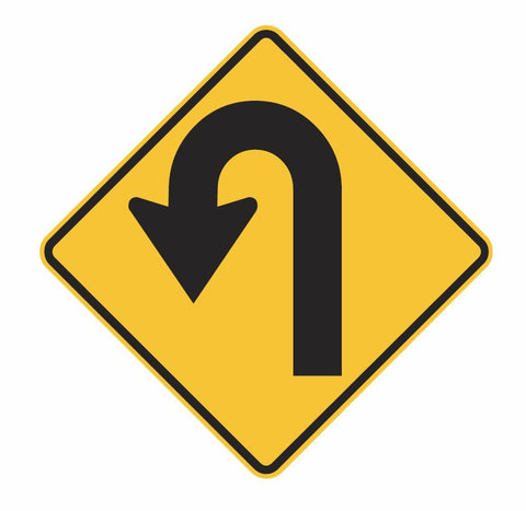 HAIRPIN BEND (symbolic - L & R) W1-7 Road Sign