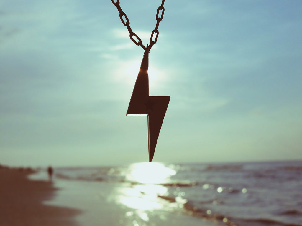 STRENGTH Lightning Bolt Necklace - Bronze