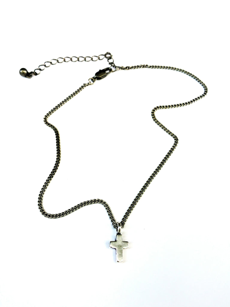 Cross of Comfort Necklace - Sterling Silver Choker Mini