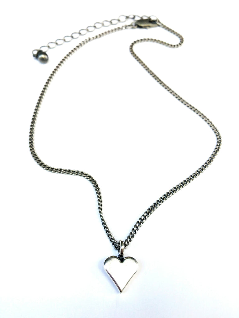Sweet Heart Necklace - Sterling Silver Choker Mini