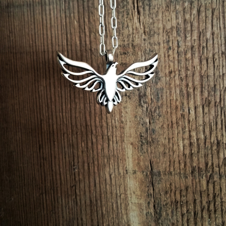 FREEDOM Soaring Eagle Necklace - Sterling Silver HONOR EMBLEM Jewelry