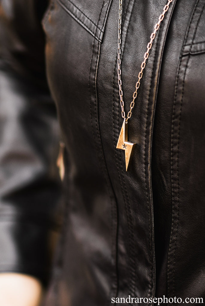 STRENGTH Lightning Bolt Necklace - Red Bronze HONOR EMBELM Jewelry