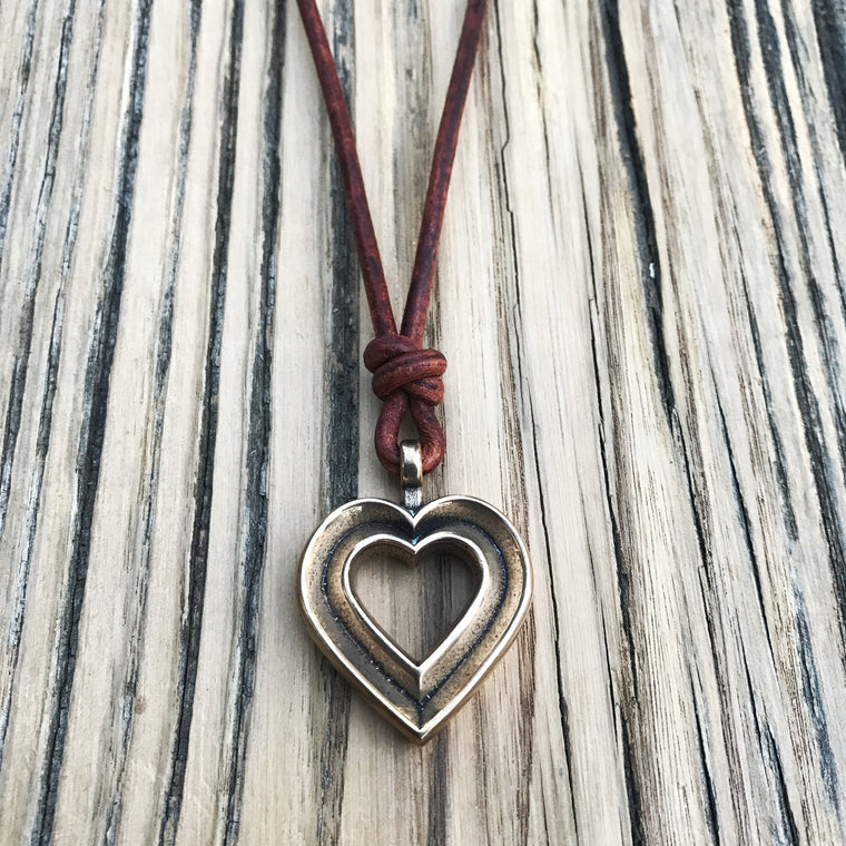 LOVE Heartbeat Necklace - Bronze on Leather Cord