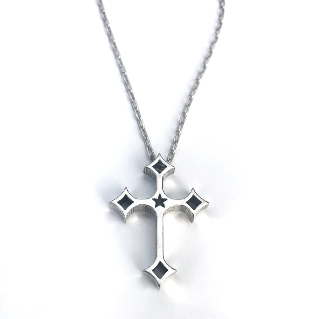 FAITH Death Before Life Cross Necklace - Sterling Silver