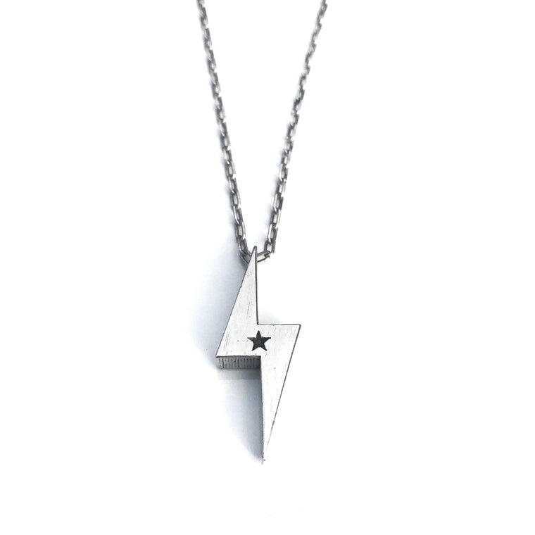 STRENGTH Lightning Bolt Necklace - Sterling Silver